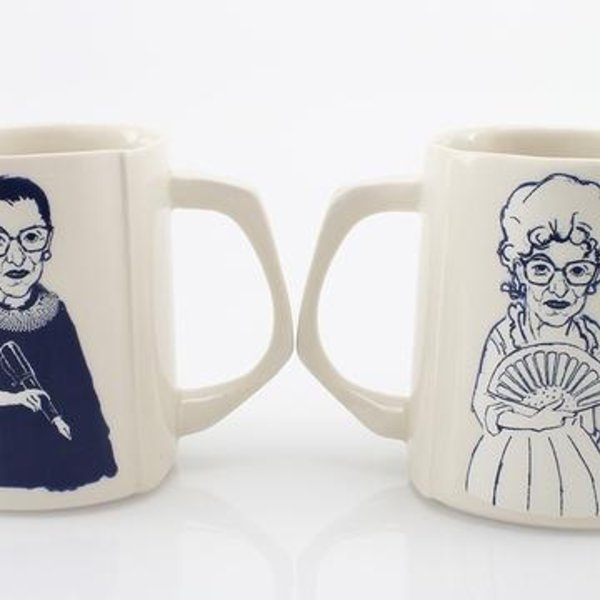 """The Democratic Cup The Democratic Cup, Ruth Ruth Cup, Image by David Gordon and Cup designed by Nick Moen, porcelain 3 7/8"""" x 4"""" x 3 3/8"""", 14 fl oz"""