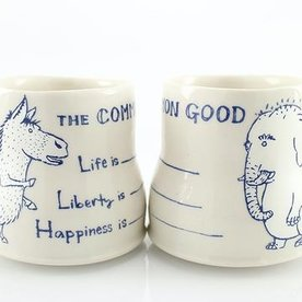 "The Democratic Cup, Write In Spin Cup, image by Ayumi Horie, Cup designed by Birdie Boone, porcelain 3 1/2"" x 4"" x 2 7/8"", 11 fl oz"