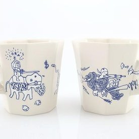 "The Democratic Cup, Eye of the TigerDonkey Cup, image by Michelle Summers, Cup designed by Doug Peltzman,porcelain 3 5/8"" x 4 1/2"" x 3 3/4"", 14 fl oz"