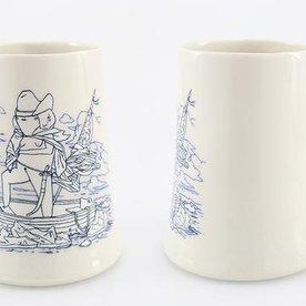 """The Democratic Cup, Gorgeous Washington Cup, image by Scott Lenhardt, cup designed by Nick Moen, porcelain 4 1/2"""" x 4 1/2"""" x 4"""", 20 fl oz"""