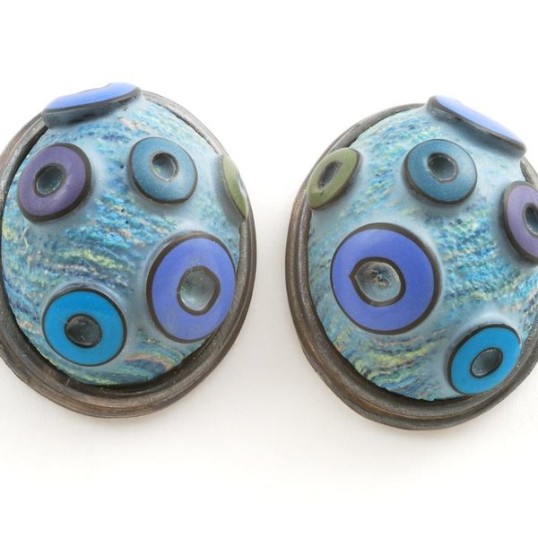 Ford & Forlano Ford & Forlano, Button Earrings, polymer clay, silver