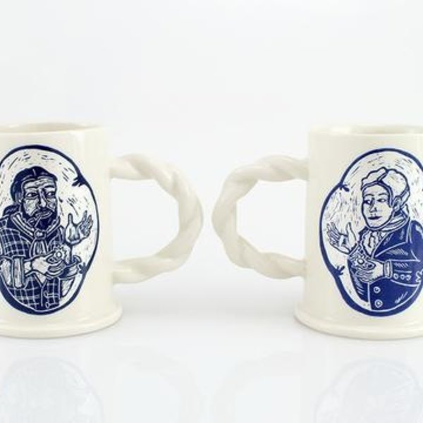"The Democratic Cup, 'Til Death Do Us Part- Lesbian Couple Cup, image by Kathy King, cup designed by Alex Reed, porcelain 4 1/4"" x 6 1/2"" x 3"", 13 fl oz"