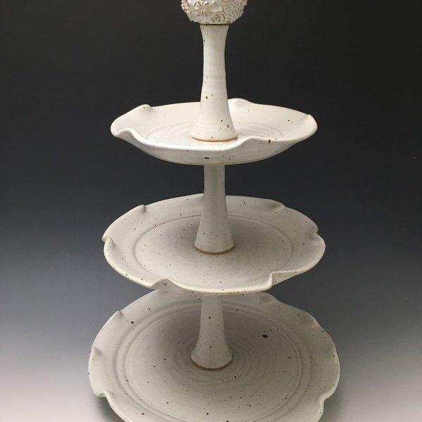 The Southern Table Ester Lipscomb, Dessert Stand, stoneware, slip, glaze,