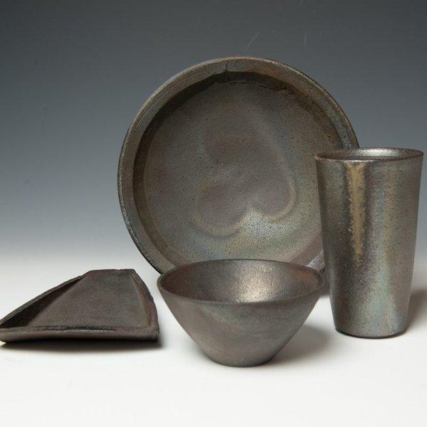 Lindsay Oesterritter, Wedge Dish, wood-fired stoneware