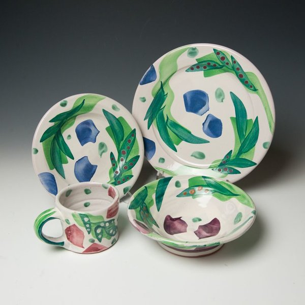 """The Southern Table Stan Andersen, Soup Bowl, earthenware, majolica, 2.25x8"""""""