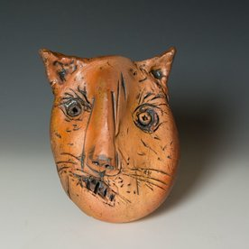 "Ron Meyers Ron Meyers, Cat Mask, 9.5 x 7.5 x 4.25"" <br /> <br /> <br /> <br /> <br /> Platter, 3 x 21.5 x 9.5"""