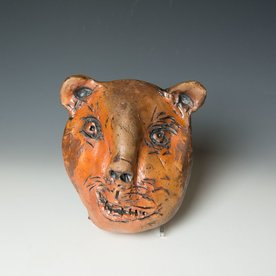 "Ron Meyers Ron Meyers, Bear Mask, 9 x 7 x 4.5"" <br /> <br /> <br /> <br /> <br /> Platter, 3 x 21.5 x 9.5"""
