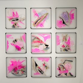 Leisa Rich Leisa Rich, In The Pink, free motion stitching, plastic, metal, thread, fabric, vinyl, 47.5x47.5""