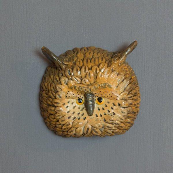 "Barry Gregg Barry Gregg, Owl, handbuilt earthenware, glaze, 4.25 x 4.75 x 2"""