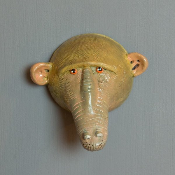 Barry Gregg Barry Gregg, Baboon, handbuilt earthenware, glaze, 4.25 x 4.25 x 5 ""