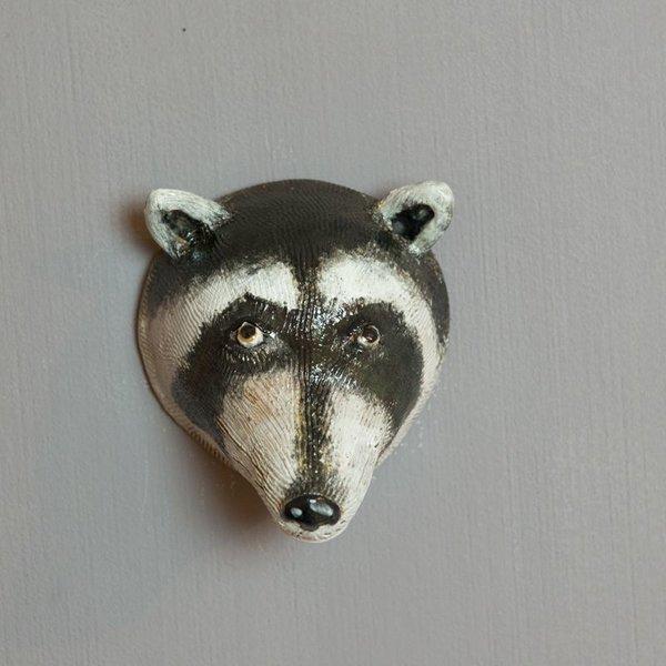 "Barry Gregg Barry Gregg, Raccoon, handbuilt earthenware, glaze, 6.5 x 9.5 x 4"""