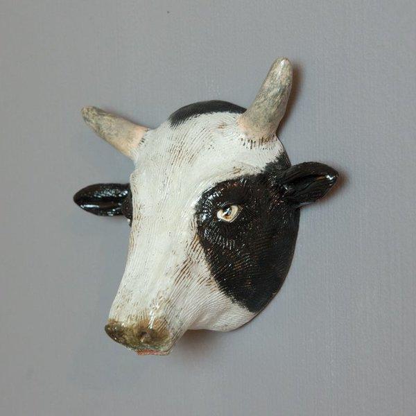 "Barry Gregg Barry Gregg, Cow, handbuilt earthenware, glaze, 6 x 7 x 3.5"""