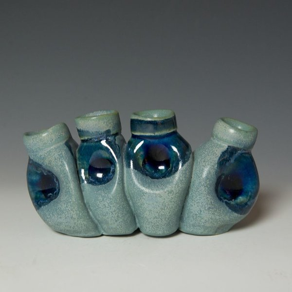 Shadow May, Bud Vase, stoneware, glaze, 3.75 x 7.25 x 3""