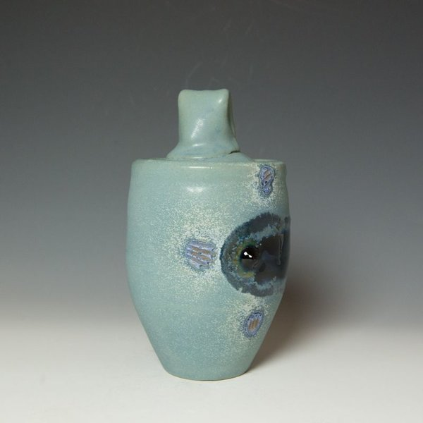 Shadow May, Lidded Jar, stoneware, glaze, 9.5 x 7""