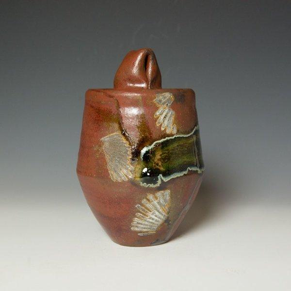 """Shadow May, Lidded Jar, stoneware, glaze, 9.5 x 7"""""""