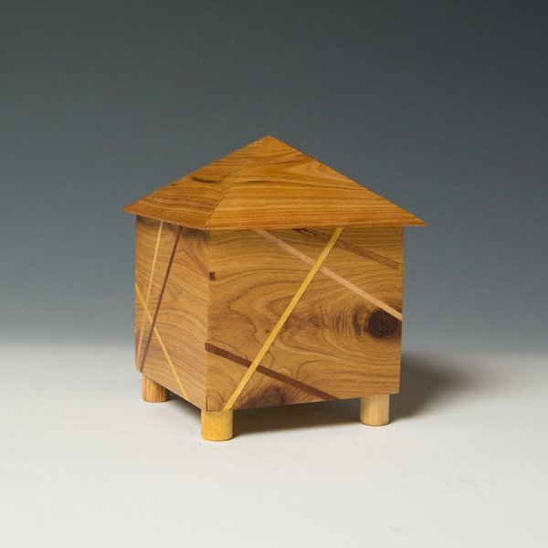 "Doug Pisik Doug Pisik, Mini Box ""Pyramid"", various woods, 5 x 4 x 4"""