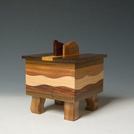"Doug Pisik, Mini Box ""Mahogany Wave"", various woods, 6 x 5 x 5"""