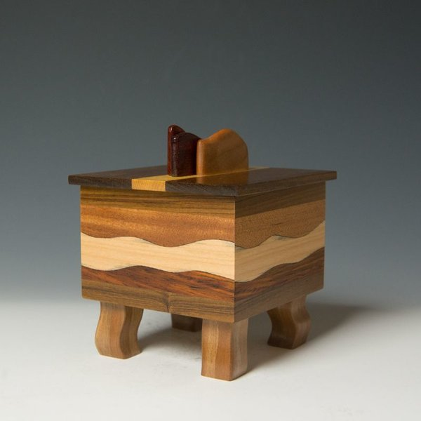 "Doug Pisik Doug Pisik, Mini Box ""Mahogany Wave"", various woods, 6 x 5 x 5"""