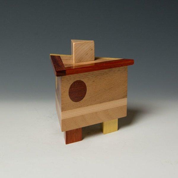 """Doug Pisik, Mini Box """"Tri"""", various woods, 4.5 x 4 x 4"""""""