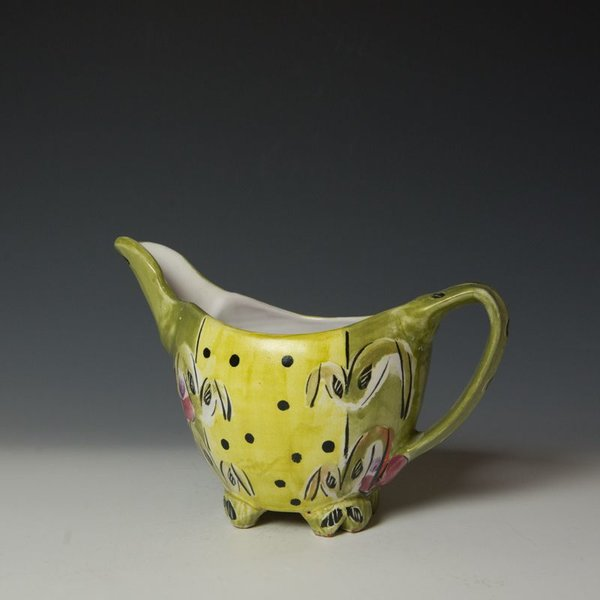 "Posey Bacopoulos Posey Bacopoulos, Gravy Pitcher, majolica, 6"" x 8.75"" x 4.5"""