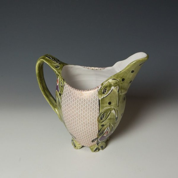 "Posey Bacopoulos Posey Bacopoulos, Beaked Pitcher, majolica, gold lustre, 8.5"" x 9"" x 5.25"""