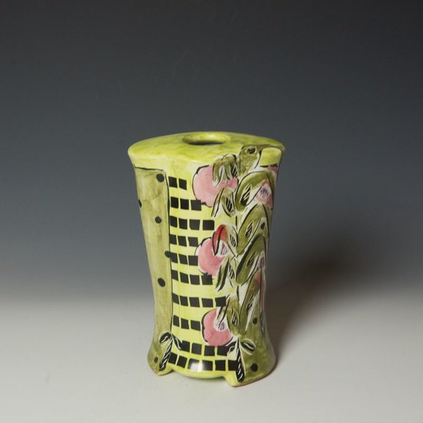 Posey Bacopoulos Posey Bacopoulos, Vase, majolica, 8 x 5 x 3.75""