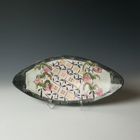 Posey Bacopoulos Posey Bacopoulos, Large Oval Dish, majolica, gold lustre