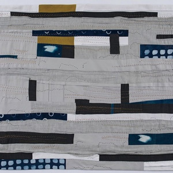 Sheri Schumacher Sheri Schumacher, Kagbeni, hand-stitched repurposed linens, clothing, printed cotton, 36 x 68""