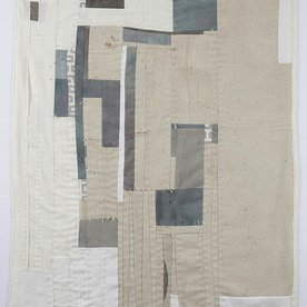 Sheri Schumacher Sheri Schumacher, Annapurna, hand-stitched repurposed linens, clothing, printed cotton, 36 x 68""