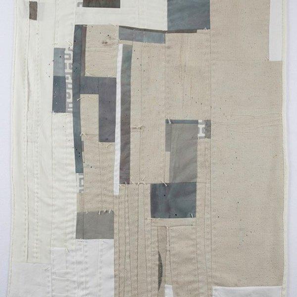 "Sheri Schumacher Sheri Schumacher, Annapurna, hand-stitched repurposed linens, clothing, printed cotton, 36 x 68"""