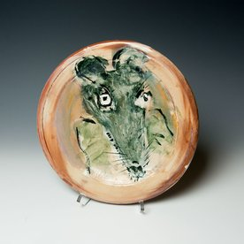 "Ron Meyers Ron Meyers, Plate with Mouse, earthenware, 1.25 x 10.75"" dia"