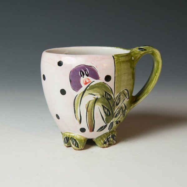 """Posey Bacopoulos Posey Bacopoulos, Cup, majolica, 4.25x5.25x3.25"""""""