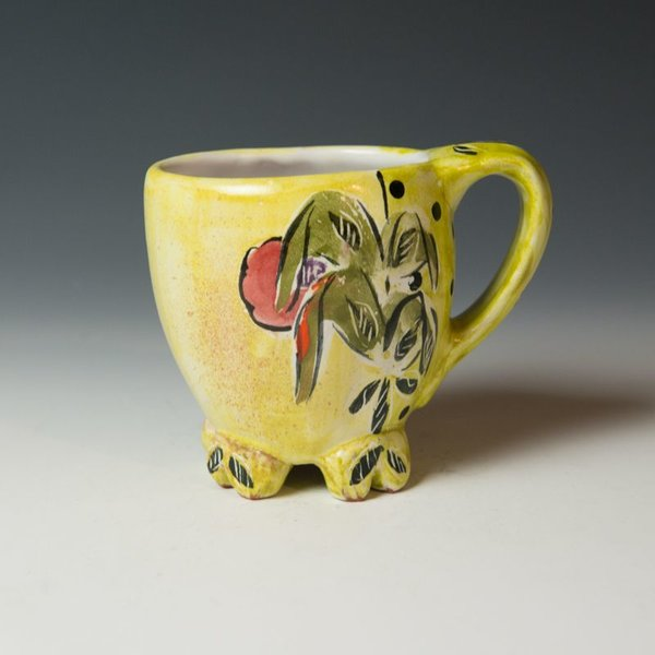 Posey Bacopoulos Posey Bacopoulos, Cup with Feet, majolica, 4.5 x 5.25 x 3.75