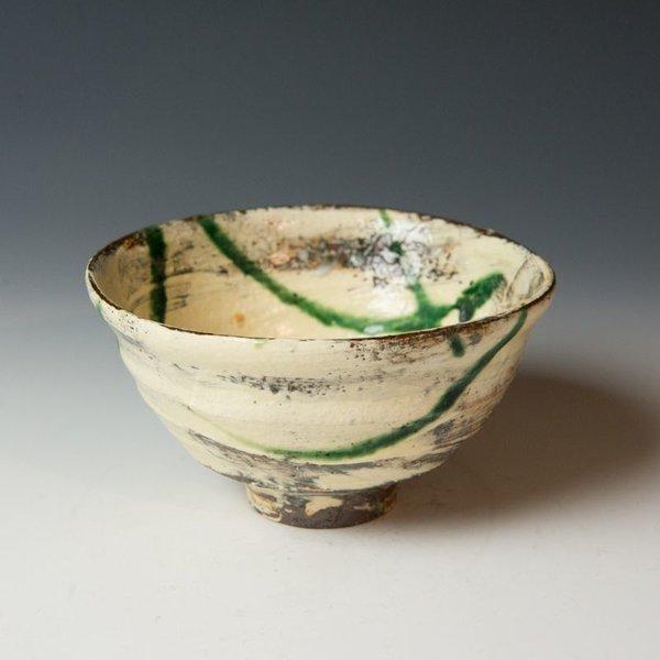 Michael Hunt & Naomi Dalglish, Soup Bowl, white slip, sgraffito, copper green
