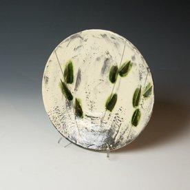 Hunt and Dalglish Michael Hunt & Naomi Dalglish, Dinner Plate, white slip, sgraffito, copper green