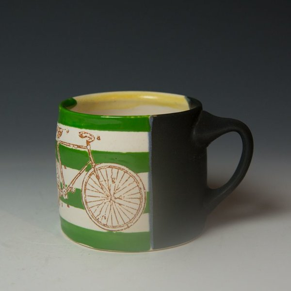 Stacy Snyder Stacy Snyder, Bike Mug, Green Stripes, Red Polka Dots