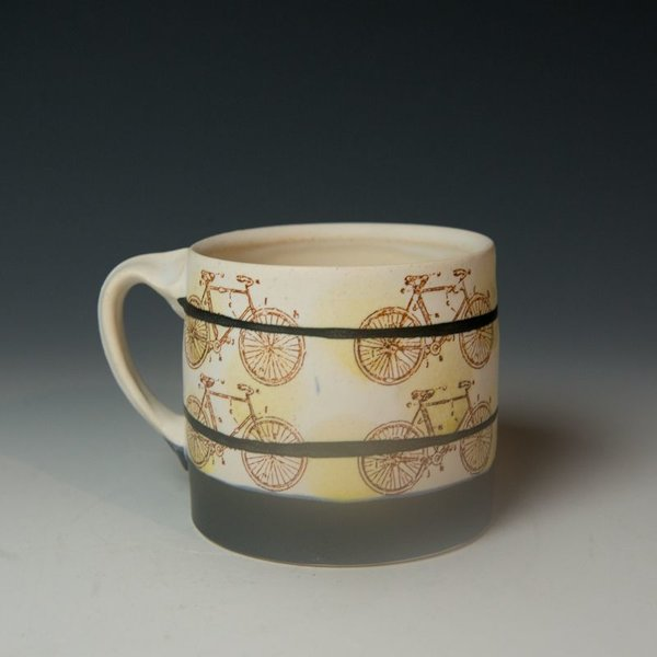 Stacy Snyder Stacy Snyder, Bike Mug, Yellow Polka Dots, Double Black Stripes