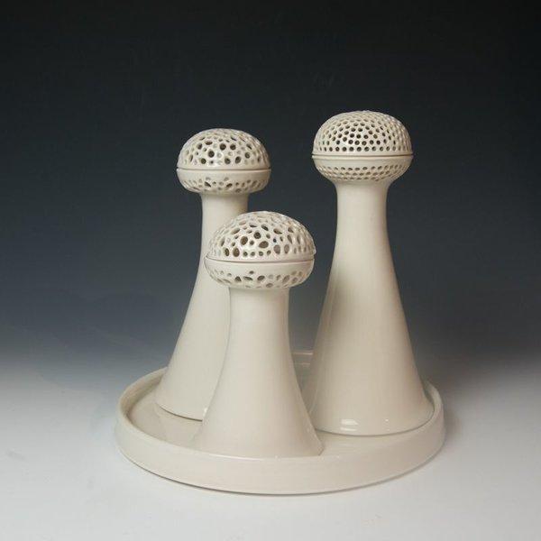 "Masa Sasaki Masa Sasaki, White Candelabra, porcelain, glaze, 12, 11 & 9 "" high"