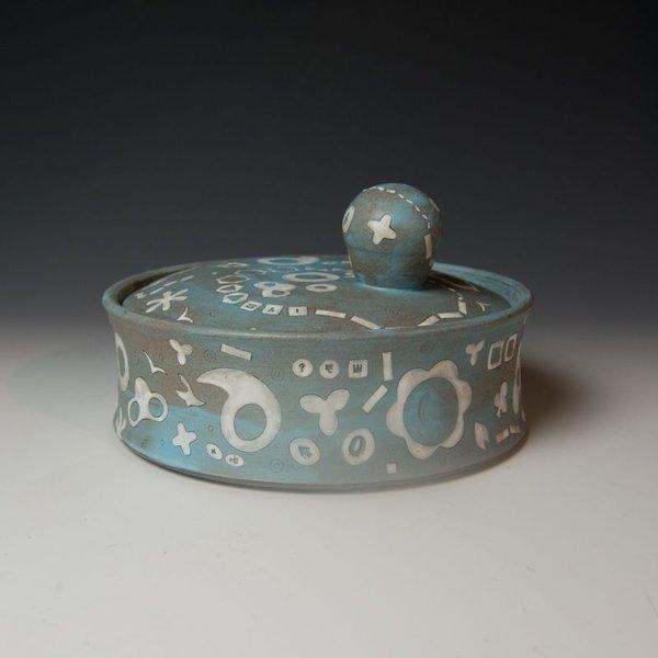 "Masa Sasaki Masa Sasaki, Blue Jar w/Ball Handle, stoneware, glaze, 6 X 9.5"" dia"