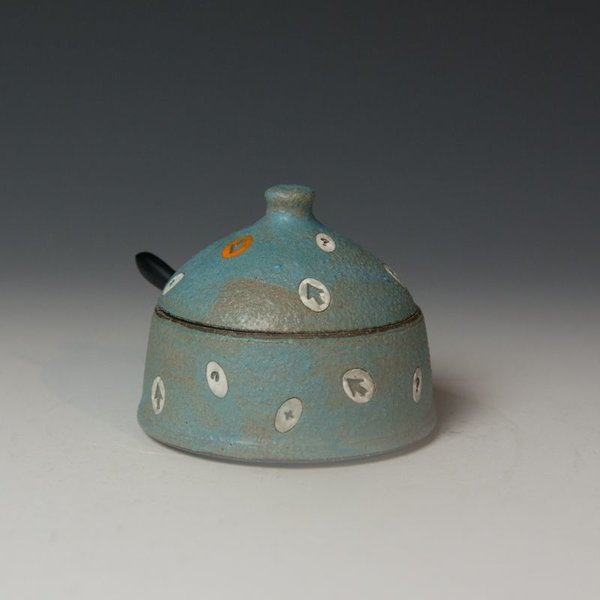 "Masa Sasaki Masa Sasaki, Medium Condiment Jar, black mountain clay, glaze, 3.25 x 3.75"" dia"