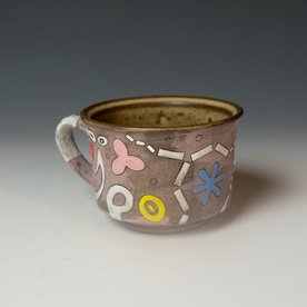 Masa Sasaki Masa Sasaki, One Eye Alien Mug, black mountain clay, glaze, 3.25 x 5.25 x 4""