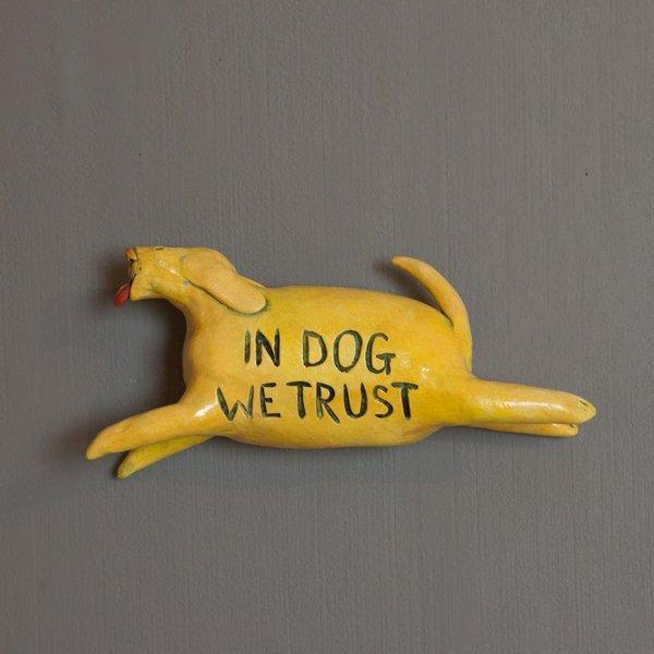 "Barry Gregg Barry Gregg, Dog, (wall) earthenware, glaze, 5""x3""x1"""