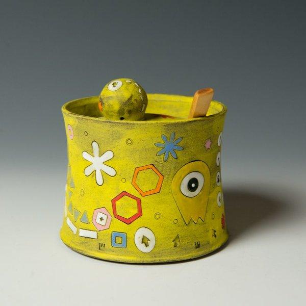 """Masa Sasaki Masa Sasaki, Sugar Pot, porcelain, glaze, 5 x 4.5"""""""