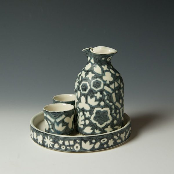 "Masa Sasaki Masa Sasaki, Shiro Kuro Sake Set, porcelain, glaze, 5.75 x 6.75""dia"