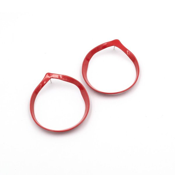 Laura Wood Laura Wood, Open Weave Red Classic Hoop Earring, brass, sterling silver, powder coat