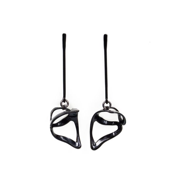 Laura Wood Laura Wood, Open Weave  Scoop Hoop Black Earring, brass, powder coat