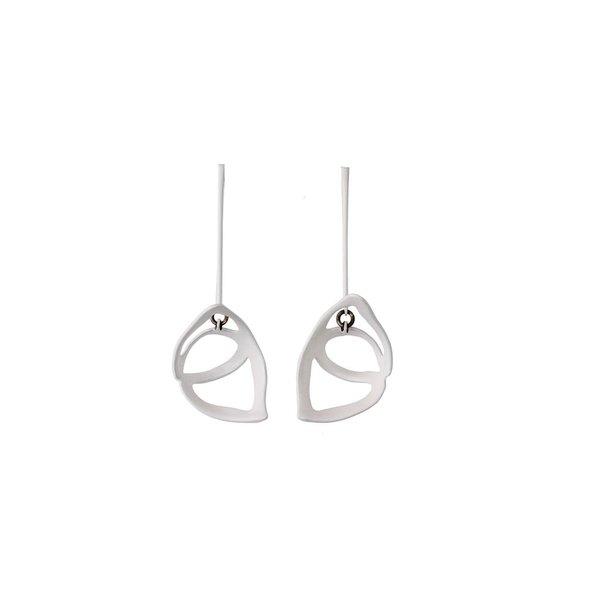 Laura Wood Laura Wood, Open Weave Scoop Drop White Earring, brass, sterling silver, steel powder coat