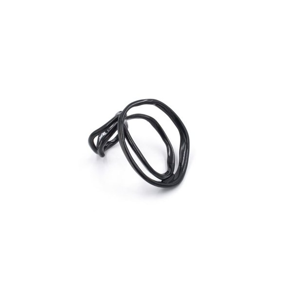 Laura Wood Laura Wood, Open Weave Ring Double Black, brass, powder coat