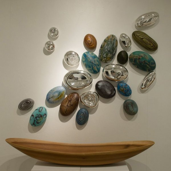 Thor & Jennifer Bueno, Earth Sky Mix, glass, blown, kiln cooled, sandblasted, silvered (24 pieces),