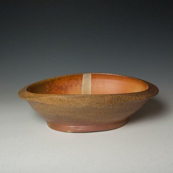 "Michael Simon, Large Oval Bowl, stoneware, glaze, slip, salt-fired, 5 x 12 x 17.5"""